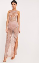 PrettyLittleThing Donatella Rose Gold Metallic Pointelle Knit Maxi Dress