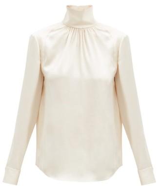Rochas High-neck Silk-satin Blouse - Cream