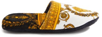 Versace Baroque-print Cotton-terry Slippers - White Gold