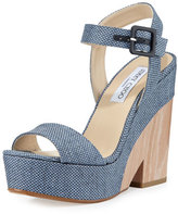 Jimmy Choo Nico 125mm Platform Wedge Sandal, Navy