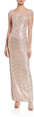 Jenny Packham Cap-Sleeve Sequined Gown
