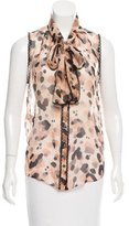 Moschino Cheap & Chic Moschino Cheap and Chic Lace-Accented Silk Top