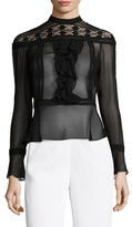 Tracy Reese Victorian Silk Lace Inset Flounce Blouse