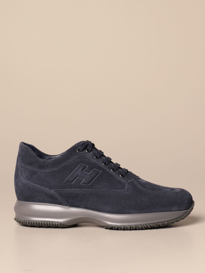 HOGAN men shoes Blue unlined suede and leather H420 sneaker mule with rope