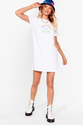 Nasty Gal Womens Oh Here Comes the Sun Graphic Tee Dress - White - S, White