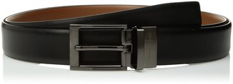 Perry Ellis Men's Big and Tall Reversible Feather Edge Leather Belt with Textured Buckle