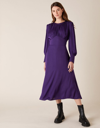 Monsoon Long Sleeve Satin Midi Dress Purple