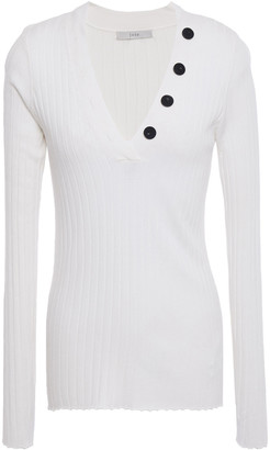 Joie Anastasia Button-embellished Ribbed-knit Sweater