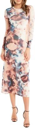 Bardot Tie Dye Long Sleeve Midi Dress