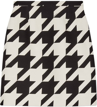 Gucci Houndstooth Print Mini Skirt