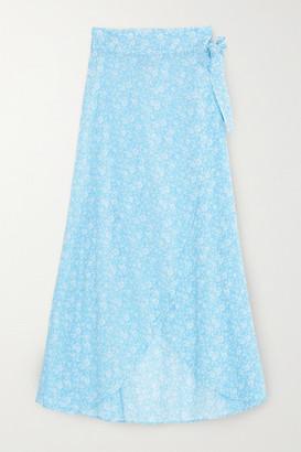 Ganni Floral-print Cotton-voile Wrap Midi Skirt - Light blue