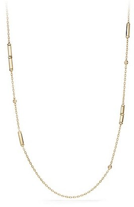 David Yurman Barrels Pave Diamonds & 18K Yellow Gold Long Station Necklace