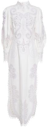 Zimmermann Cutout Embroidered Linen Maxi Dress