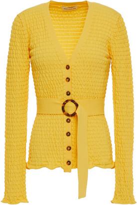 Nicholas Adele Belted Shirred Stretch-knit Cardigan