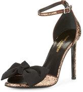 Saint Laurent Jane Glitter Bow 105mm Sandal, Brown
