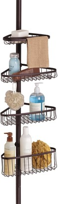 InterDesign iDesign York Metal Wire Tension Rod Corner Shower Caddy Adjustable 5'-9' Pole and Baskets for Shampoo Conditioner Soap with Hooks for Razors Towels Adjustable from 5'-9'