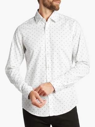 HUGO BOSS BOSS Lukas Dash Print Regular Fit Shirt, Gold/White