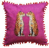 Jessica Russell Flint Hopsack Cushion Cover - Staring Leopards