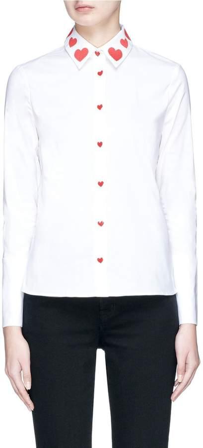 Alice + Olivia 'Faye' heart embroidered collar shirt