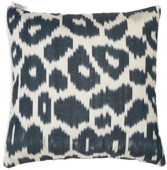 Les Ottomans - Ikat-pattern Silk Cushion - Blue Multi