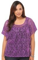 Purple Sequined Lace Dolman Top