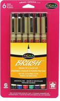 Sakura 38061 6-Piece Pigma Colors Brush Pen