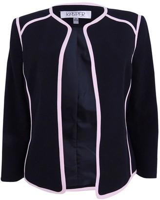 Kasper Women's Petite Size Solid Jewel Neck Flyaway Jacket with Pink Trim