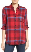 Lucky Brand Women's Side Button Plaid Top