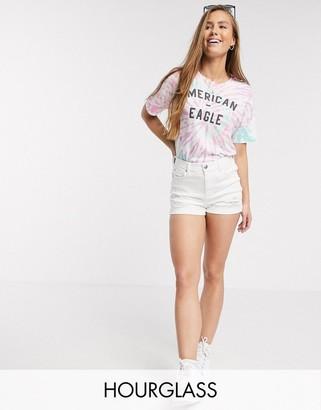 American Eagle curvy denim shorts in white