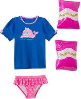 Jump N Splash Toddler Girls' Happy Whale TwoPiece Short Sleeve Rashguard Set w/ Free Floaties (2T-3T) - 8143058