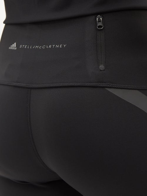 Thumbnail for your product : adidas by Stella McCartney Truepace Reflective-tape High-rise Jersey Leggings - Black