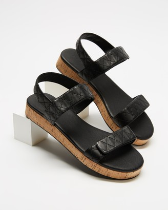 AERE - Women's Black Espadrilles - Quilted Leather Cork Sandals - Size 6 at The Iconic