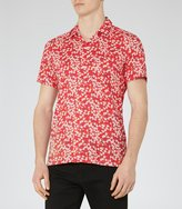 Reiss Reiss Raquet - Liberty Print Cuban Collar Shirt In Pink