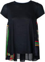 Sacai printed panel T-shirt - women - Linen/Flax/Polyester - 1