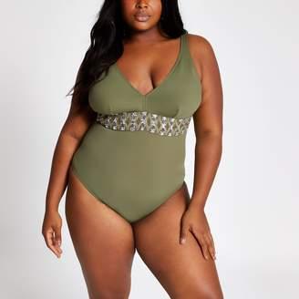 River Island Womens Plus Khaki embellished waist swimsuit