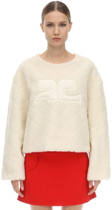 Courreges Logo Faux Fur Sweatshirt
