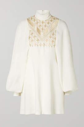 Giambattista Valli Embroidered Crepe Mini Dress - Ivory