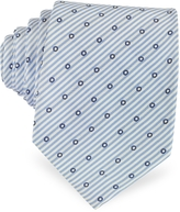 Forzieri Dots and Stripe Print Woven Silk Tie