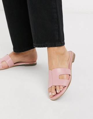 Dune loopy slip on flat sandals in pale pink