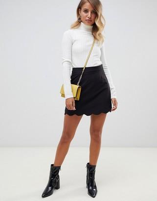 Asos Design DESIGN tailored a-line mini skirt with scallop hem-Black