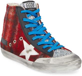 Golden Goose Francy Wool & Glitter High-Top Sneakers