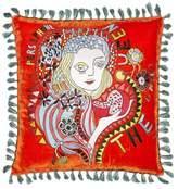La DoubleJ Persephone Large Embroidered Velvet Cushion - Orange Print