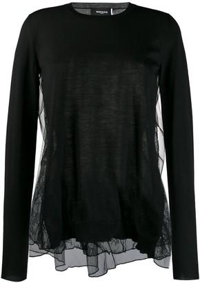 Rochas contrast lace panel blouse