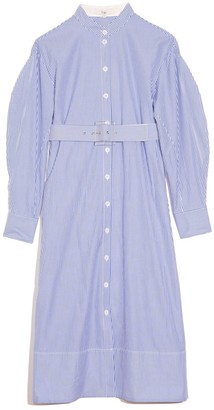 Tibi Striped Shirtdress with D-Ring Belt in Blue Multi
