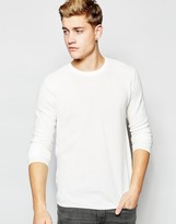 !solid Textured Knitted Jumper