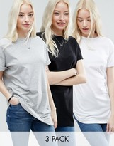 Asos The Ultimate Easy Longline T-Shirt 3 Pack