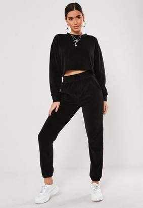 Missguided Black Co Ord Oversized Velour Cuffed Joggers