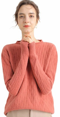 MeetMetro Women's 100% Merino Wool Fall Winter Warm Soft Lightweight Crewneck Long Sleeve Ladies Sweater Knit Jumper (S Pink)