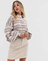 Free People Steph high neck balloon sleeve top in stripe