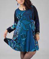 Aller Simplement Turquoise Paisley Shift Dress - Plus